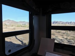 The view of the Arizona desert from the desk in our rig. Not bad to look at while you work.