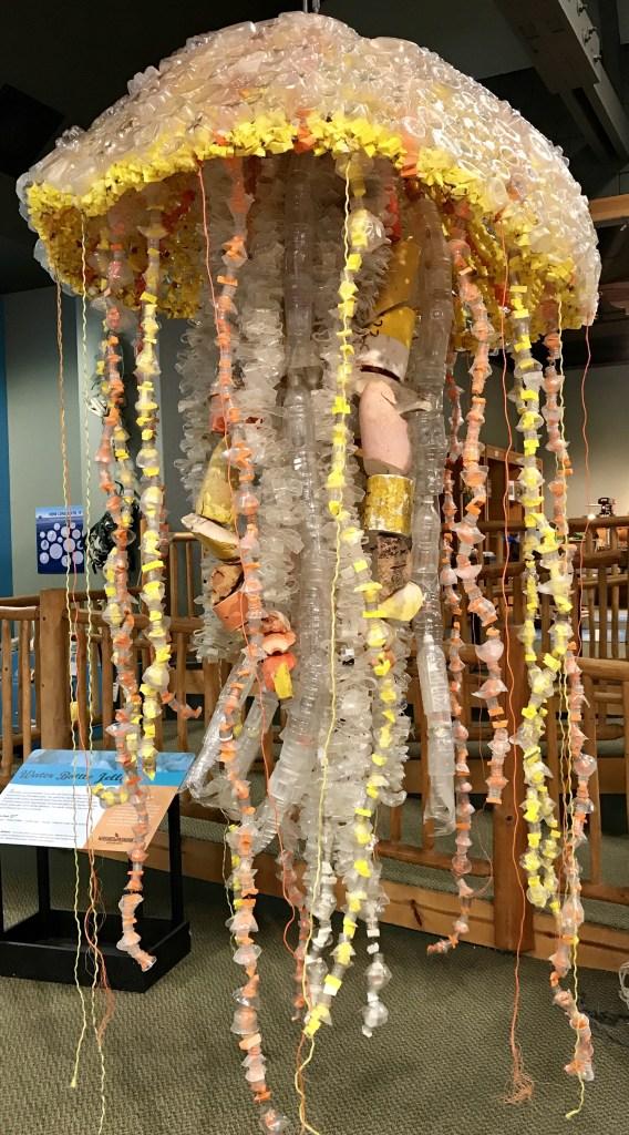 A jellyfish sculpture made from ocean debris