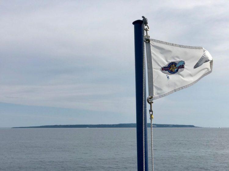 Mackinac Island in the distance