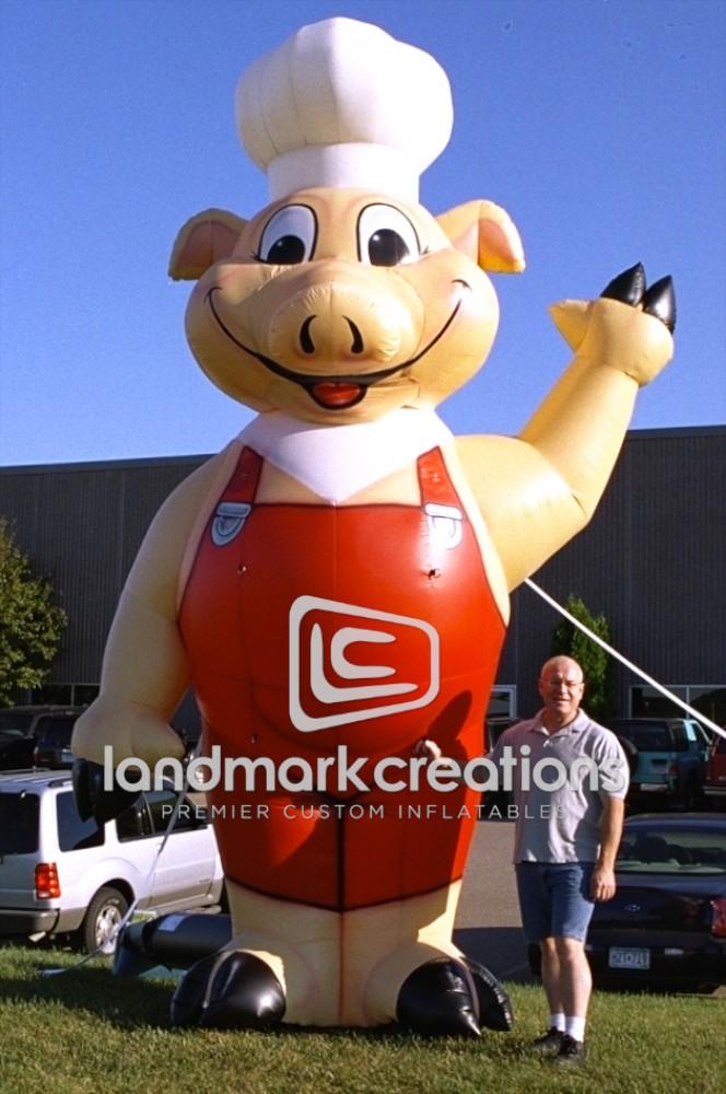 Road Side Bar B Q Inflatable Pig Mascot