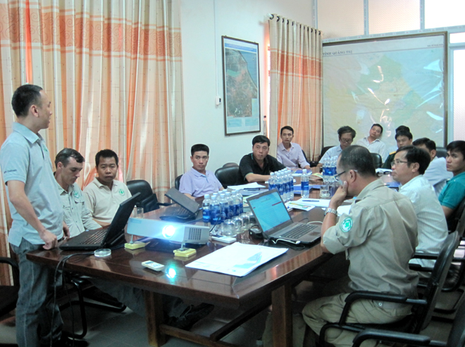 NPA/RENEW Operations Manager Dinh Ngoc Vu presenting Project RENEW's Cluster Munitions Remnants Survey results.