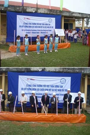 1. Young students welcoming the ceremony;  2. Participants breaking the ground