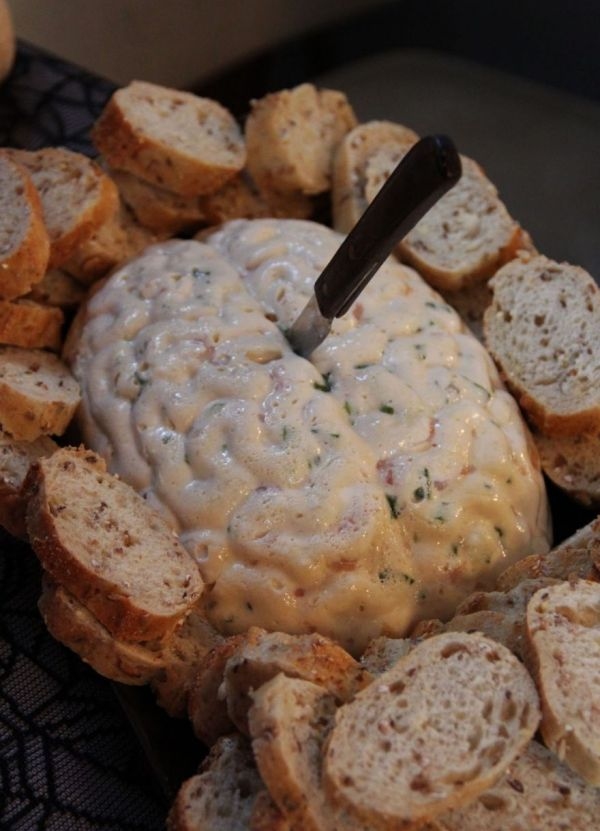 Halloween appetizer cheese dip brains made the list of my favorite Halloween Party Food Ideas