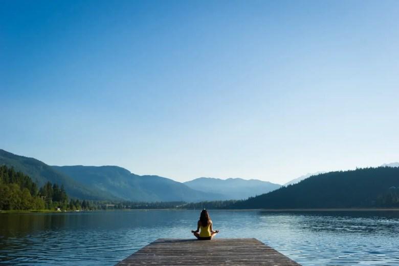 Easy Pose Tranquil Lakeside meditation at sunrise