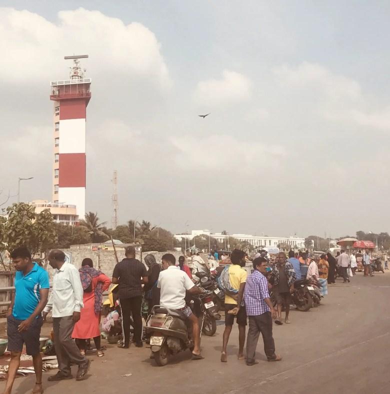 Chennai lighthouse and fish market