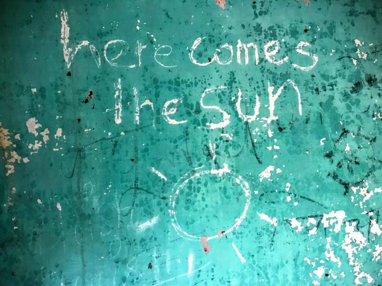 Here Comes the Sun graffiti, The Beatles Ashram, Rishikesh