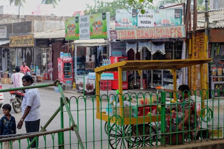 Shops in Mahabalipuram town centre, South India