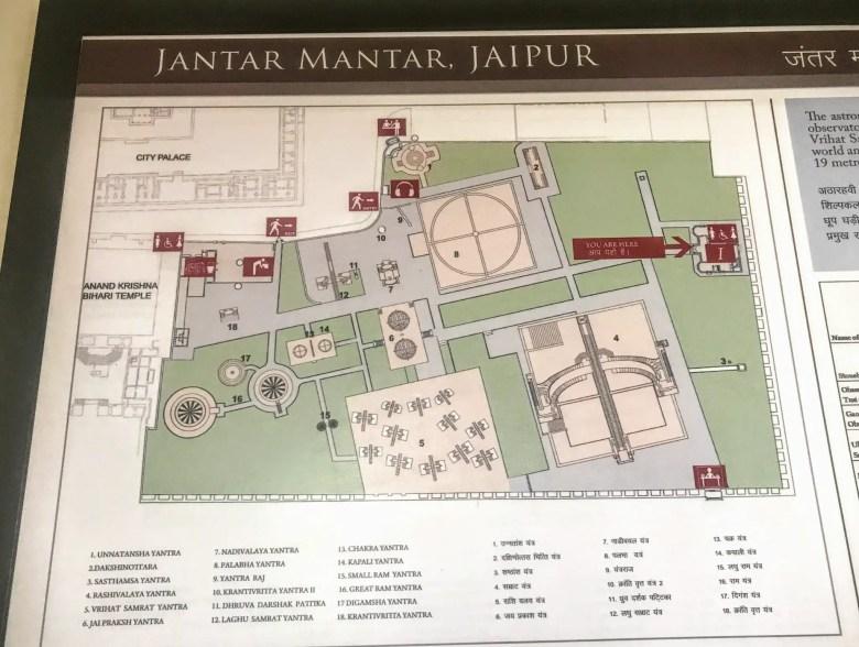 Map of Jantar Mantar in Jaipur, India