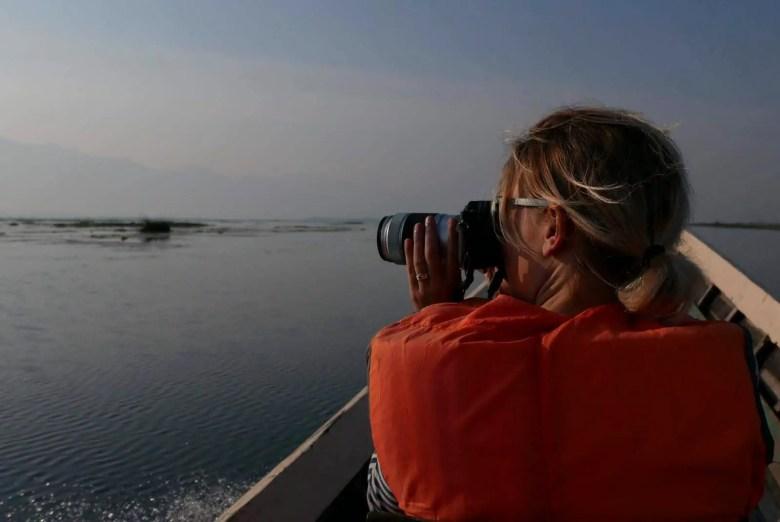 Taking pictures at Inle Lake, Myanmar