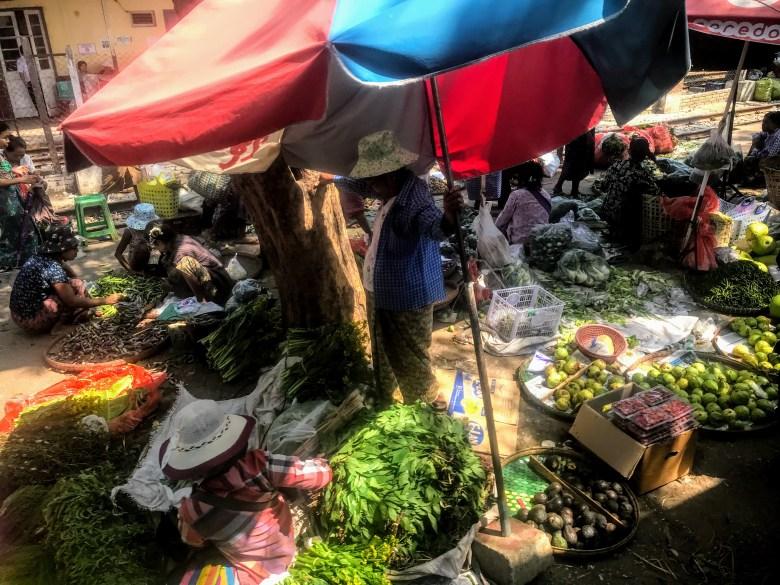 Produce market from the circle train, Yangon, Myanmar