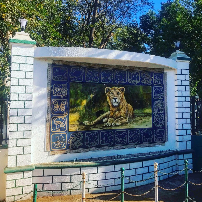 Lion on a Gir National Park sign, Sasan Gir, Gujarat
