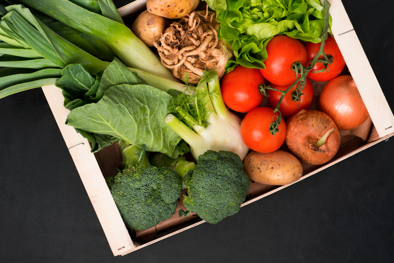 Assorted fresh vegetables in a box