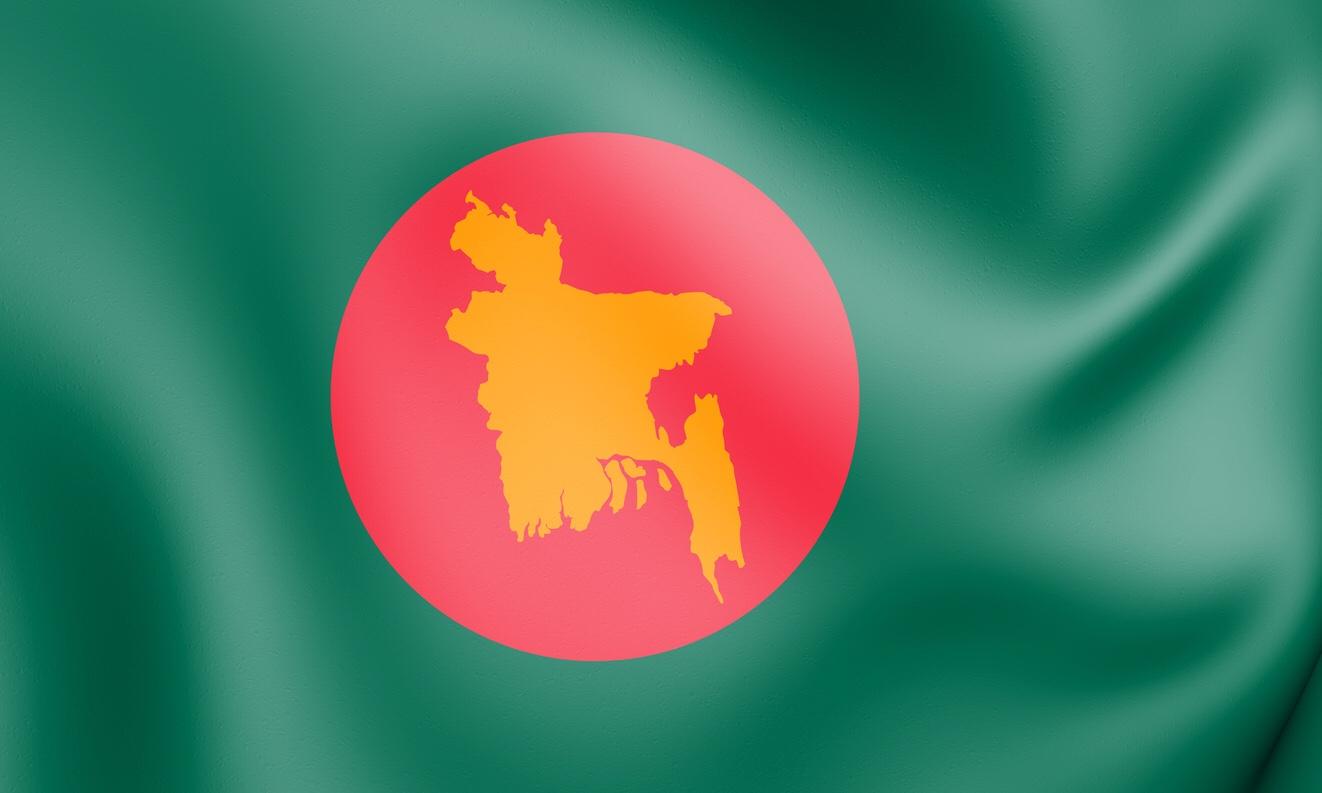 Bangladesh flag with map