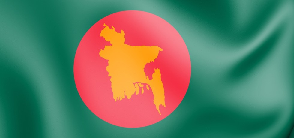 Bangladesh flag with map