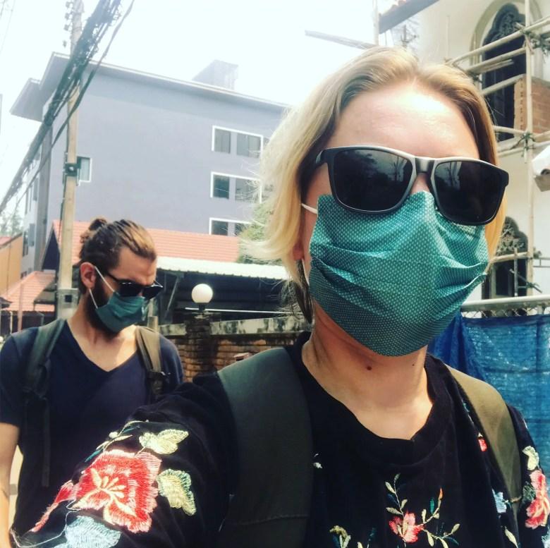 Wearing masks during burning season in Chiang Mai, Thailand