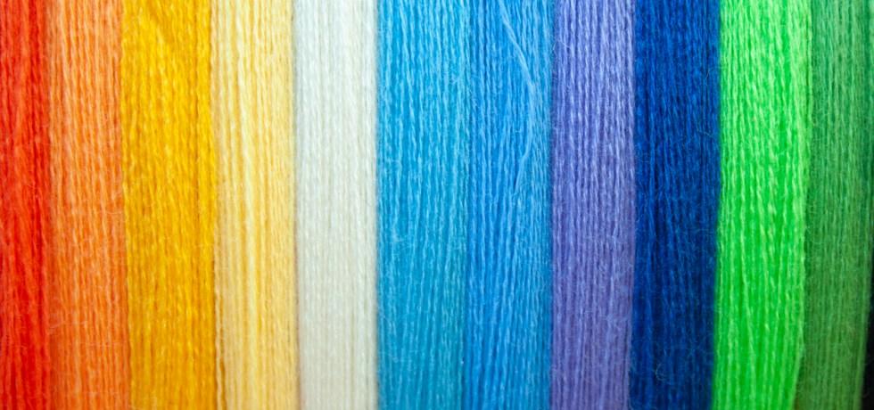 Rainbow coloured threads