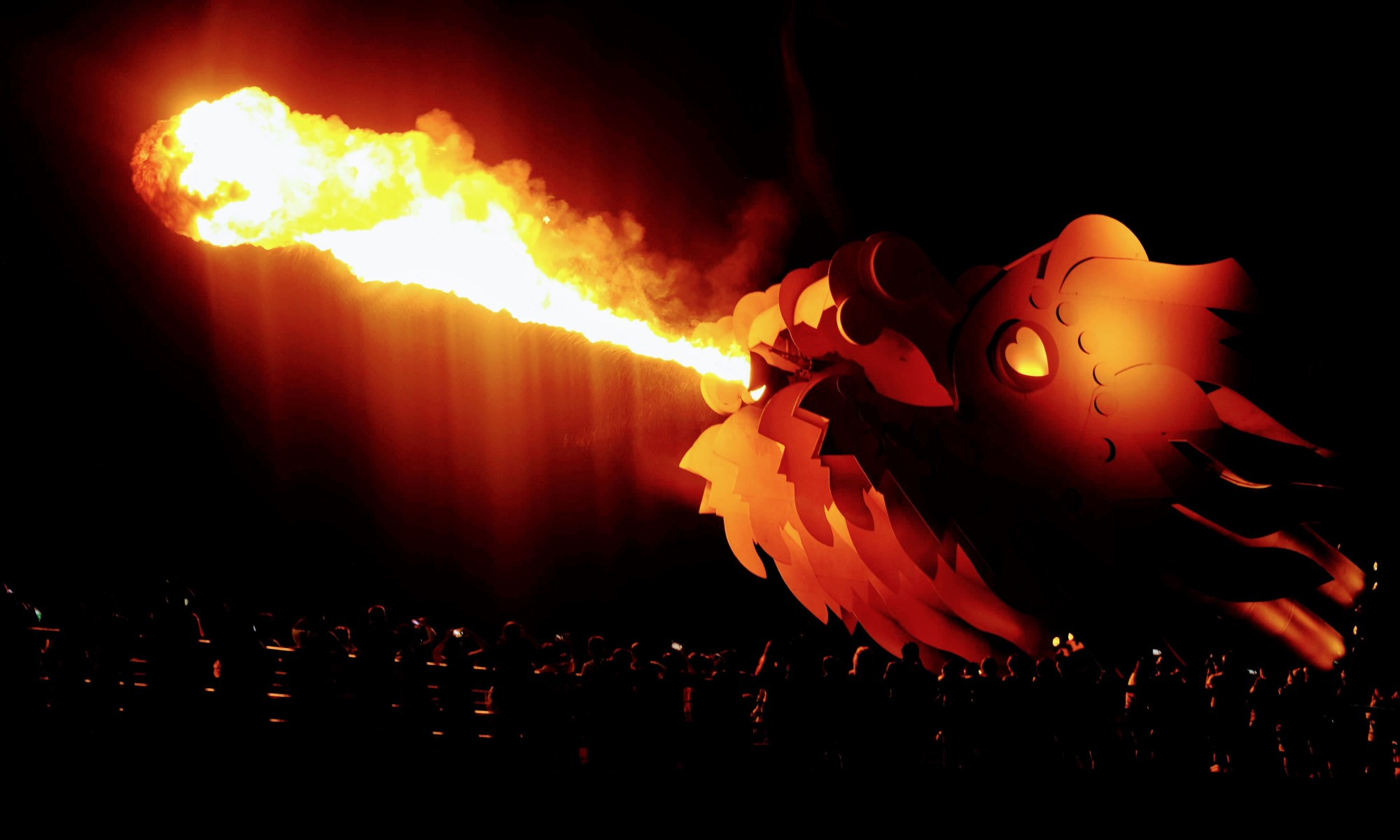 Dragon Bridge breathing fire, Da Nang, Vietnam