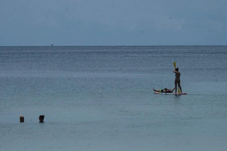 Paddle boarding at Saracen Beach, Cambodia