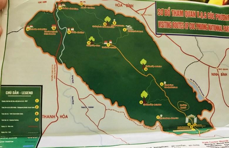 Map of Cuc Phuong National Park, Vietnam