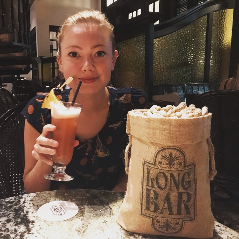 Drinking an original Singapore Sling, Raffles Hotel
