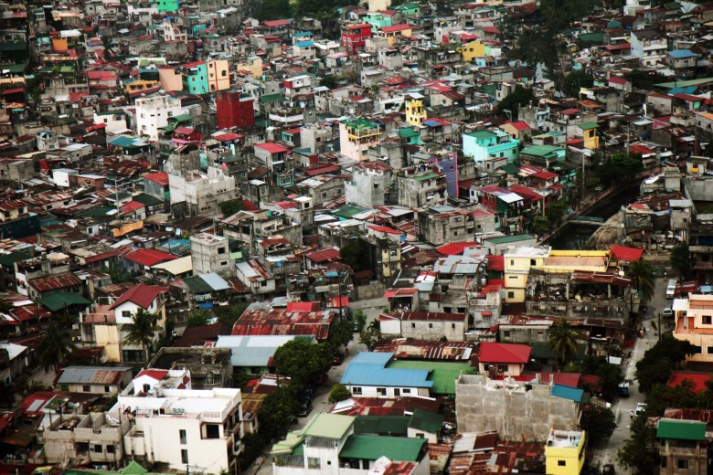 Aerial view slums of Manila, Philippines, Manila