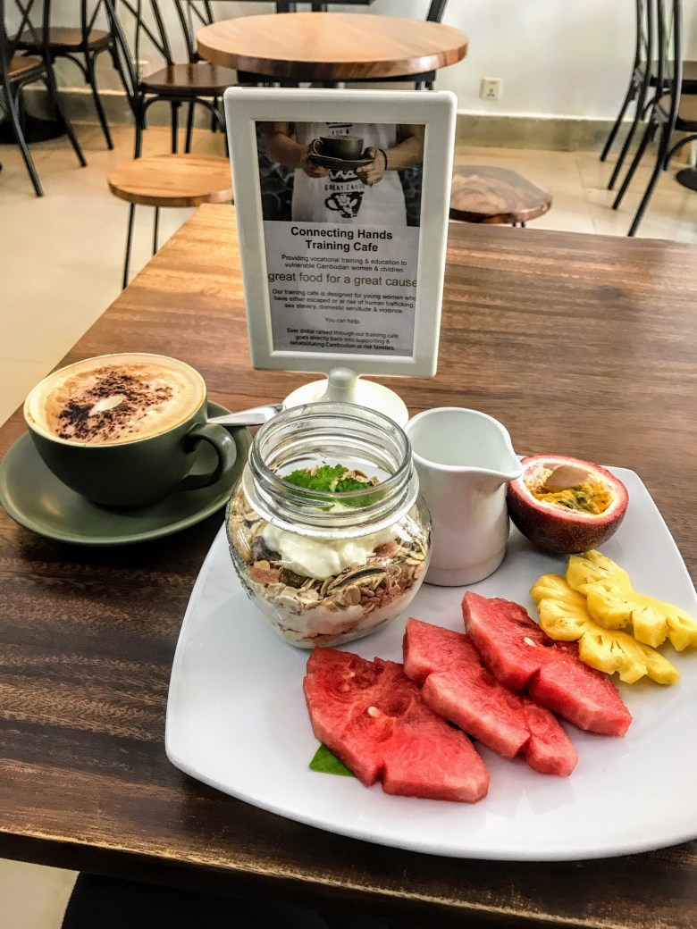 Breakfast at Connecting Hands Cafe, Phnom Penh, Cambodia