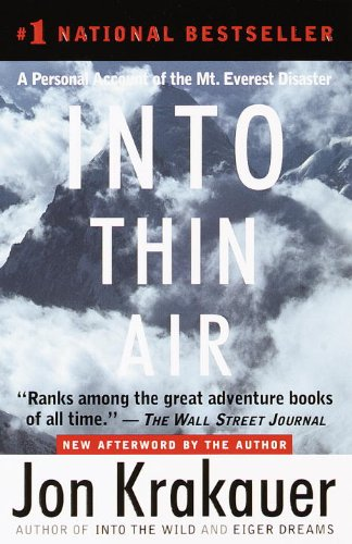 A picture of the book into thin air written by Jon Krakauer