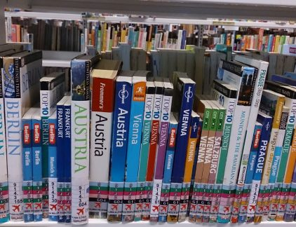 Picture of books for travelers in a library