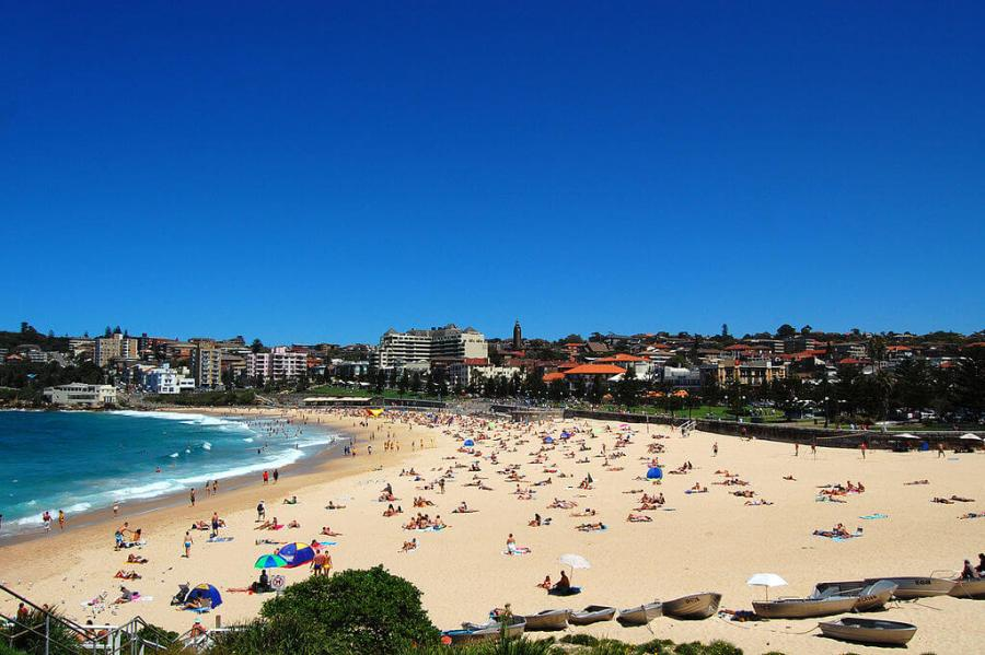 A view of the Coogee beach on a busy summers day.