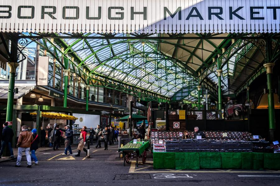 A front on view of Borough Market. Londons best place for getting fresh produce