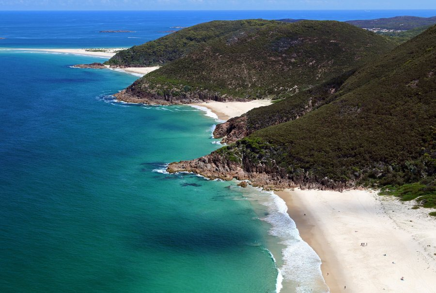 An aerial view of Zenith beach and its neighboring beaches in Port Stephens