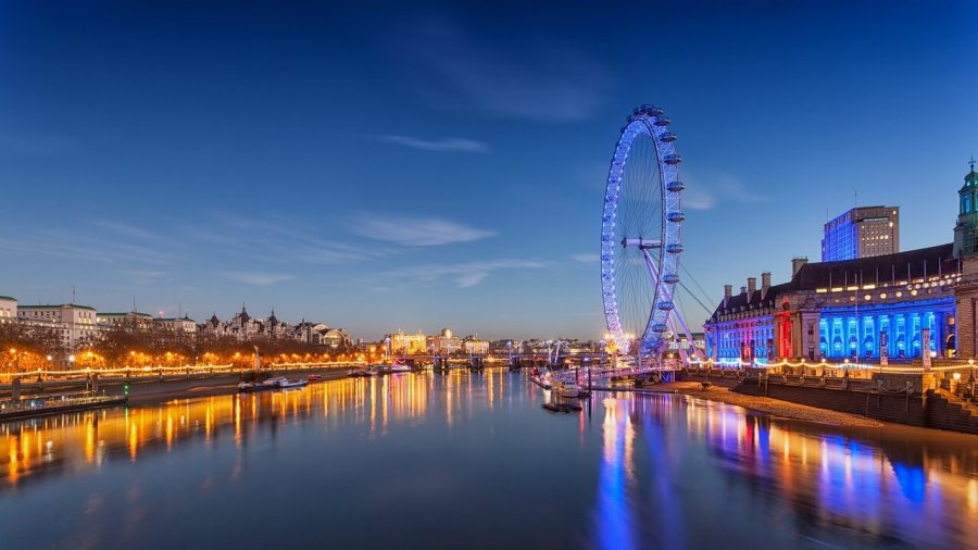 A view of the London Eye and South Bank