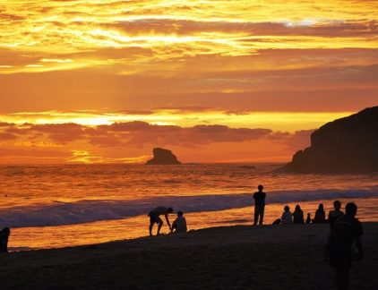 A picture of a beautiful sunset at the Zipolite nudist beach in Mexico