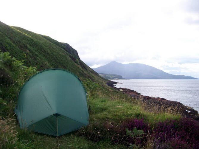 A tent pitched on the sea side in the isle of arran, Scotland