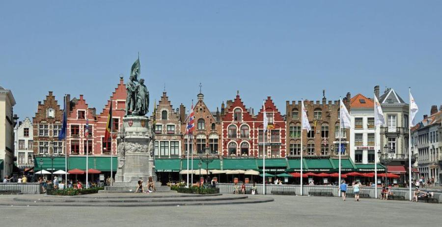The Bruges Markt during the day time is shown here