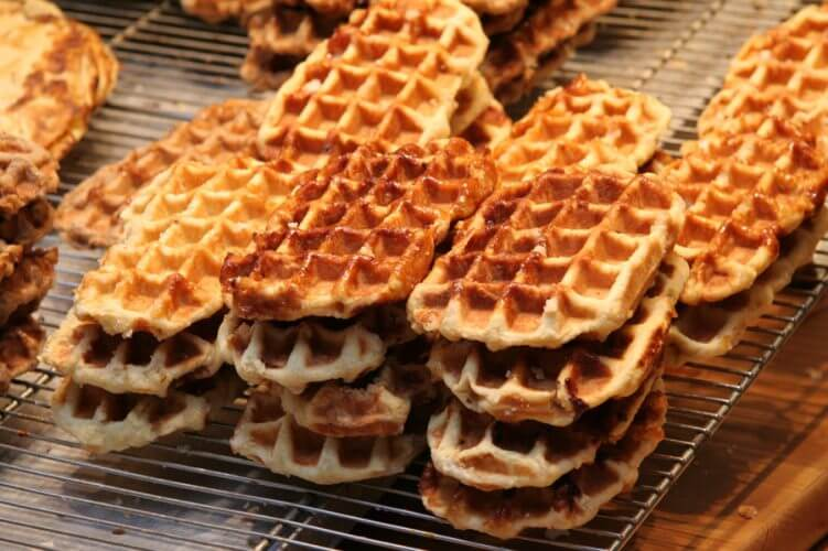 A shot of the world famous belgian waffles