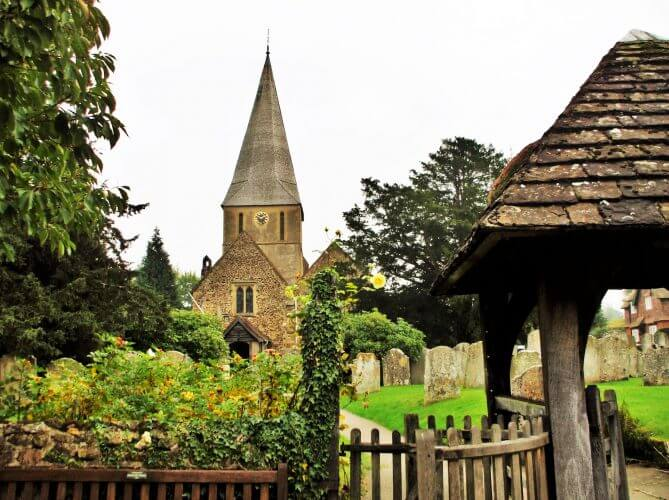 An image of the old church in Shere, Surrey