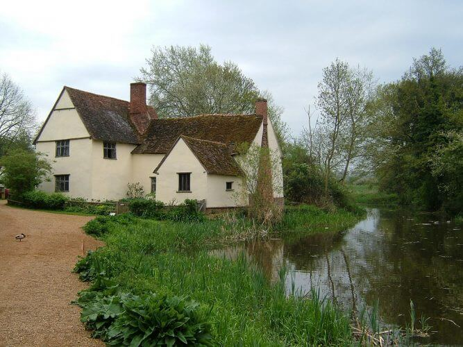 A picture of the centuries old Willy Lott's Cottage in Dedham