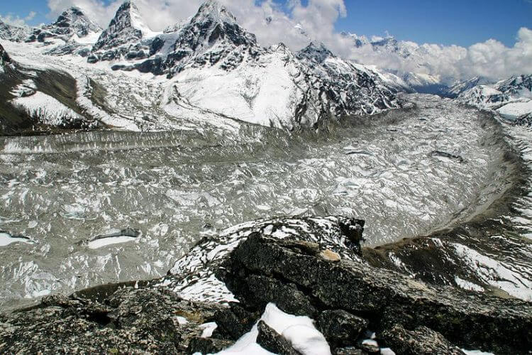 A view of the largest glacier in the Everest region