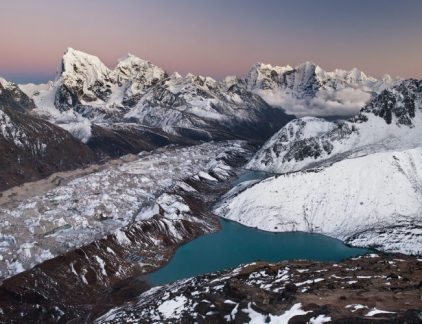 A stunning image showcasing the Gokyo Valley in the Himalayas