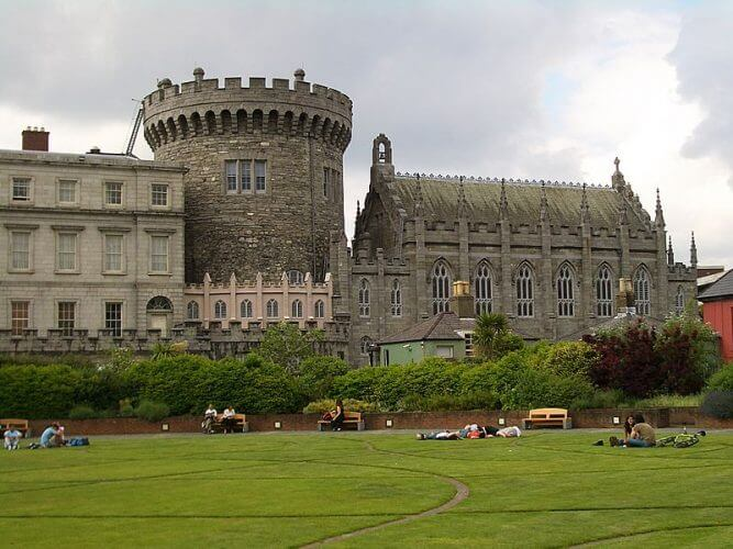 An image of the dublin castle during an overcast day is shown here