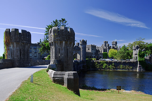 The entrance to the Ashford castle hotel is shown here