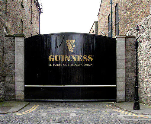 A photo of the st james gate guiness brewery in Dublin
