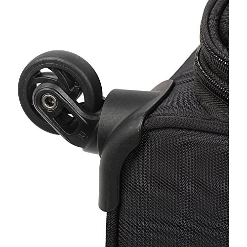 The wheels on one of the best suitcases for travelers made by Swissgear