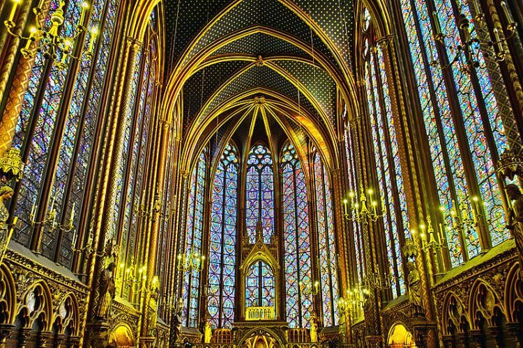 The architecture of the Sainte Chapelle is on display here