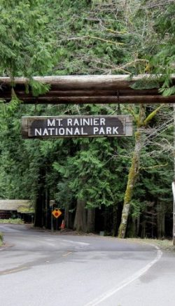 The entrance to the Mount Rainier National park is shown here