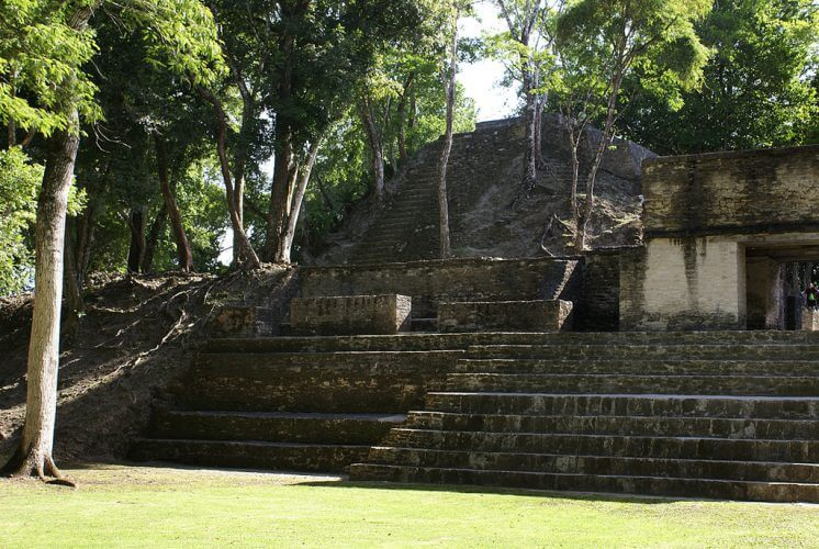 The ruins in Cahal Pech Belize are shown here