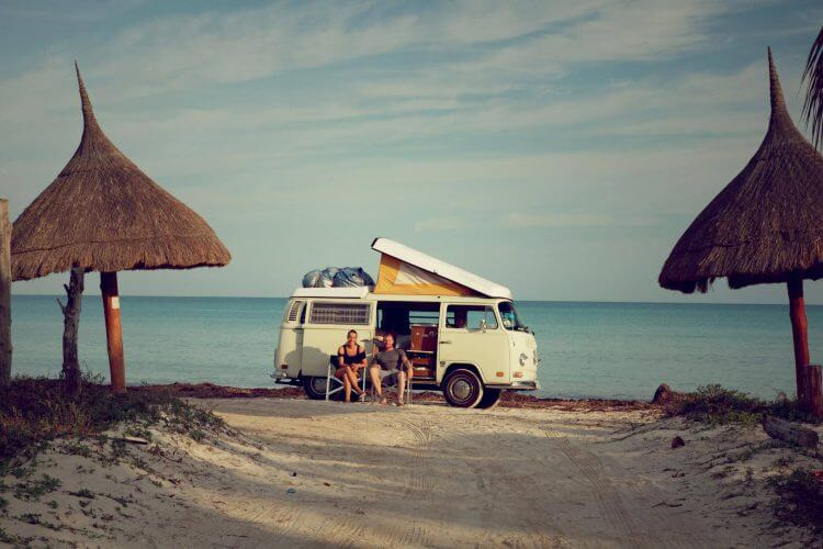 A picture of a couple chilling in Isla Holbox, Mexico
