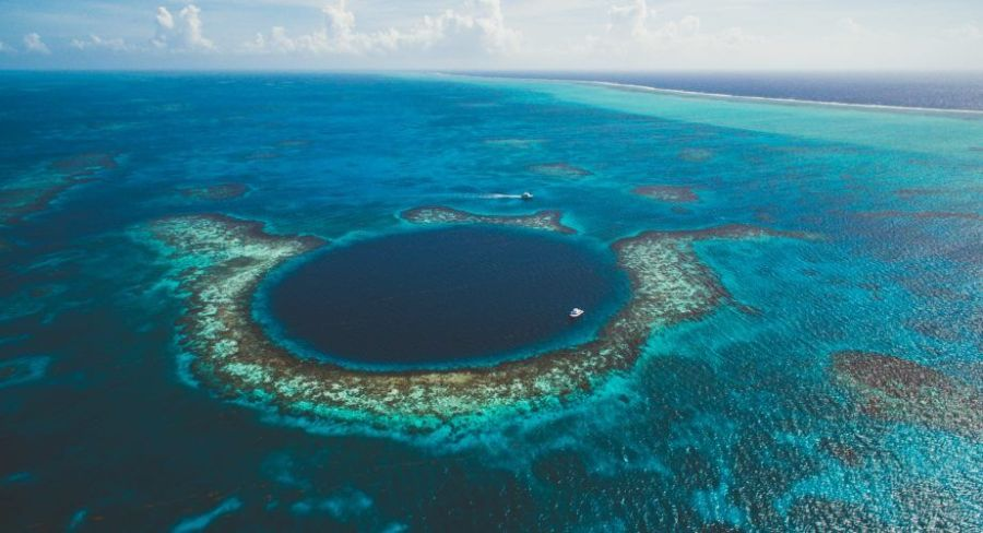 An aerial shot of the famous great blue hole loved by divers