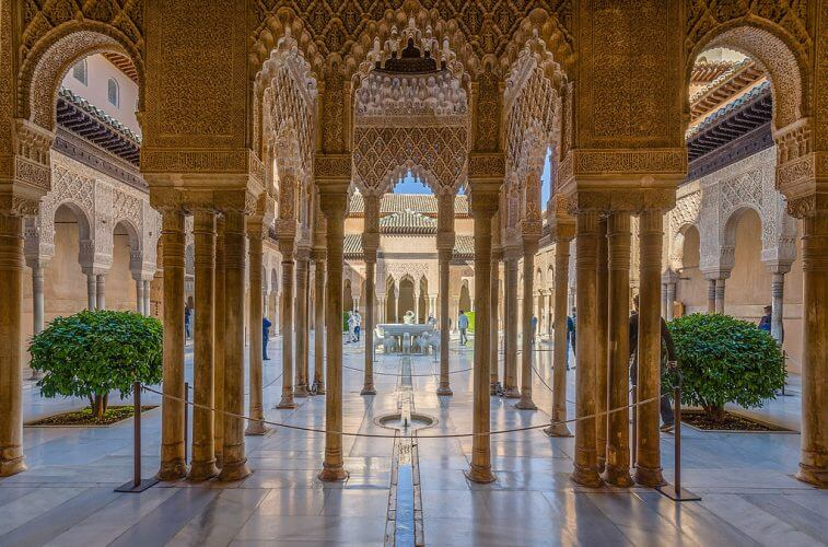 An image of the inside of Alhambra in Andalusia